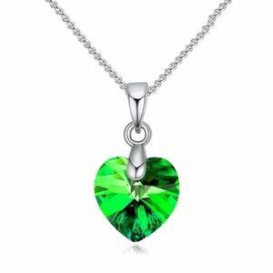Jewelry - Green CZ Heart Pendant Necklace Women's Jewelry